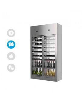 Armoire à vin WINE LIBRARY traversante 2 portes 420 bouteilles ENOFRIGO