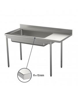 Table de déboîtage inox 15/10 ème 3X GN 1/1 pieds carrés 1500 mm PVLaboConcept