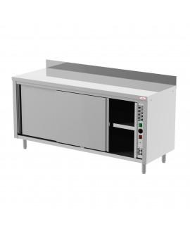 Meuble bas chauffant ventilé inox adossé portes coulissantes 1800 mm PVLaboConcept