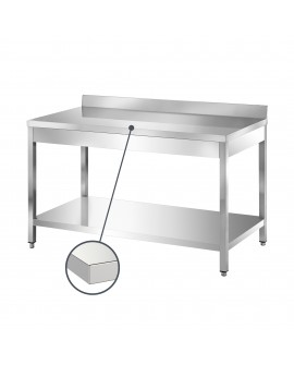 Table adossée inox avec étagère 1200 mm PVLaboConcept